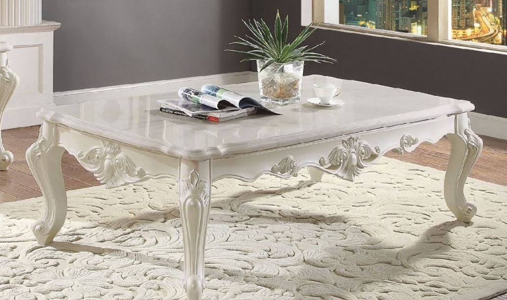 Acme Erigeron Coffee Table Marble Antique Pearl