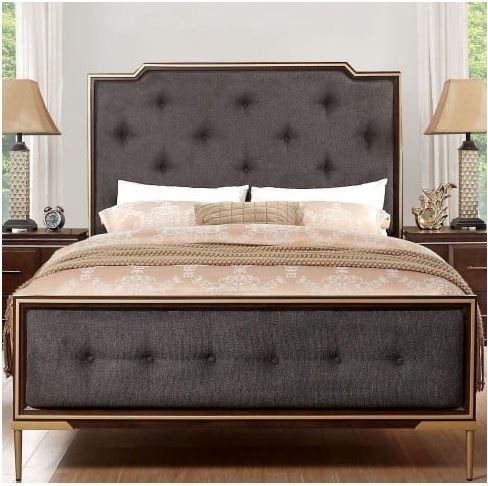 Acme Eschenbach Eastern King Bed Charcoal Fabric Cherry