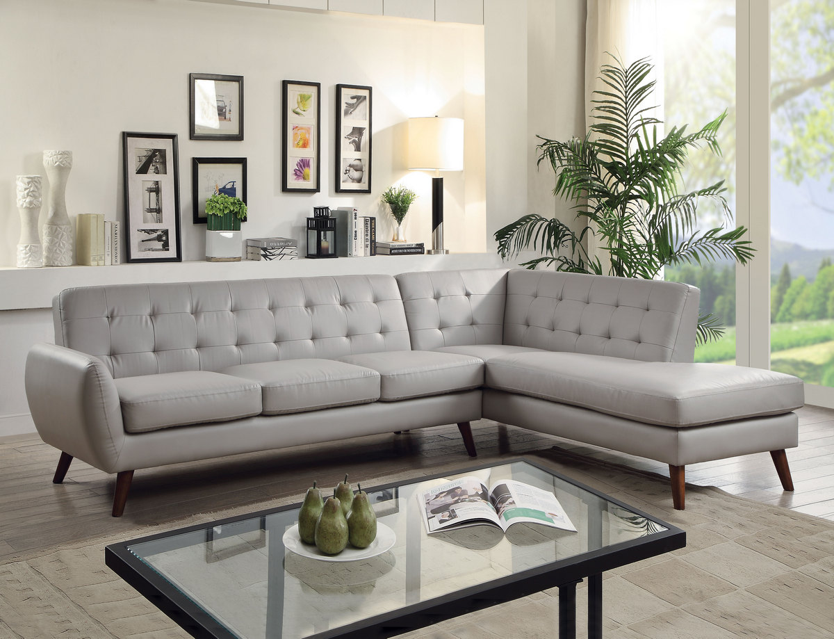 Acme Essick Sectional Sofa Gray Pu