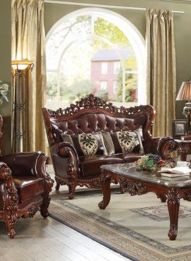 Acme Eustoma Loveseat Pillows Cherry Tglm Walnut