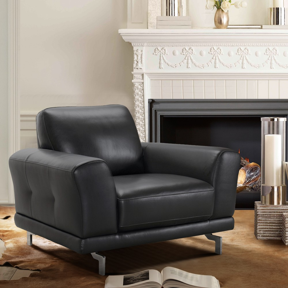 Armen Living Everly Contemporary Chair Genuine Black Leather Brushed
