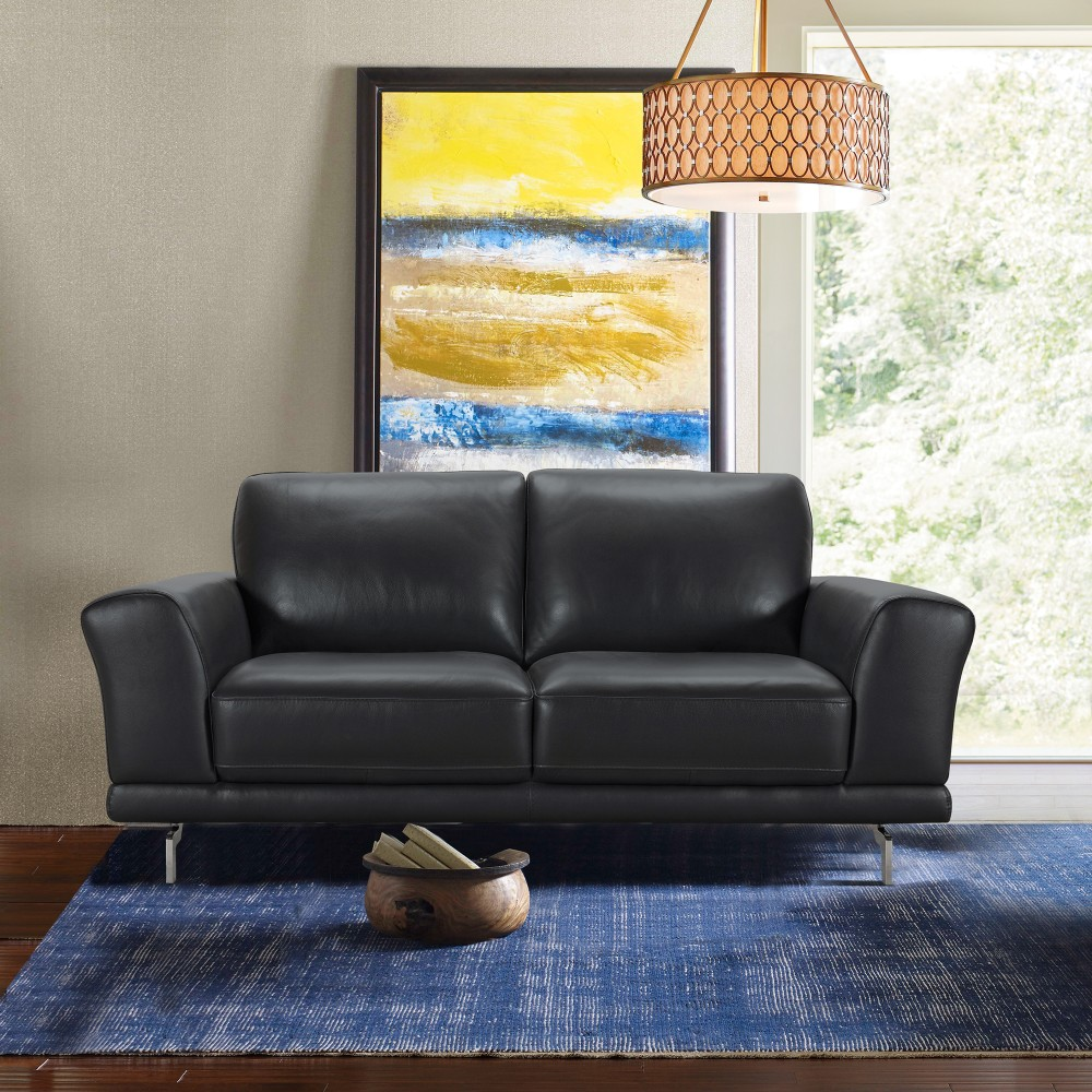 Armen Living Everly Contemporary Loveseat Genuine Black Leather