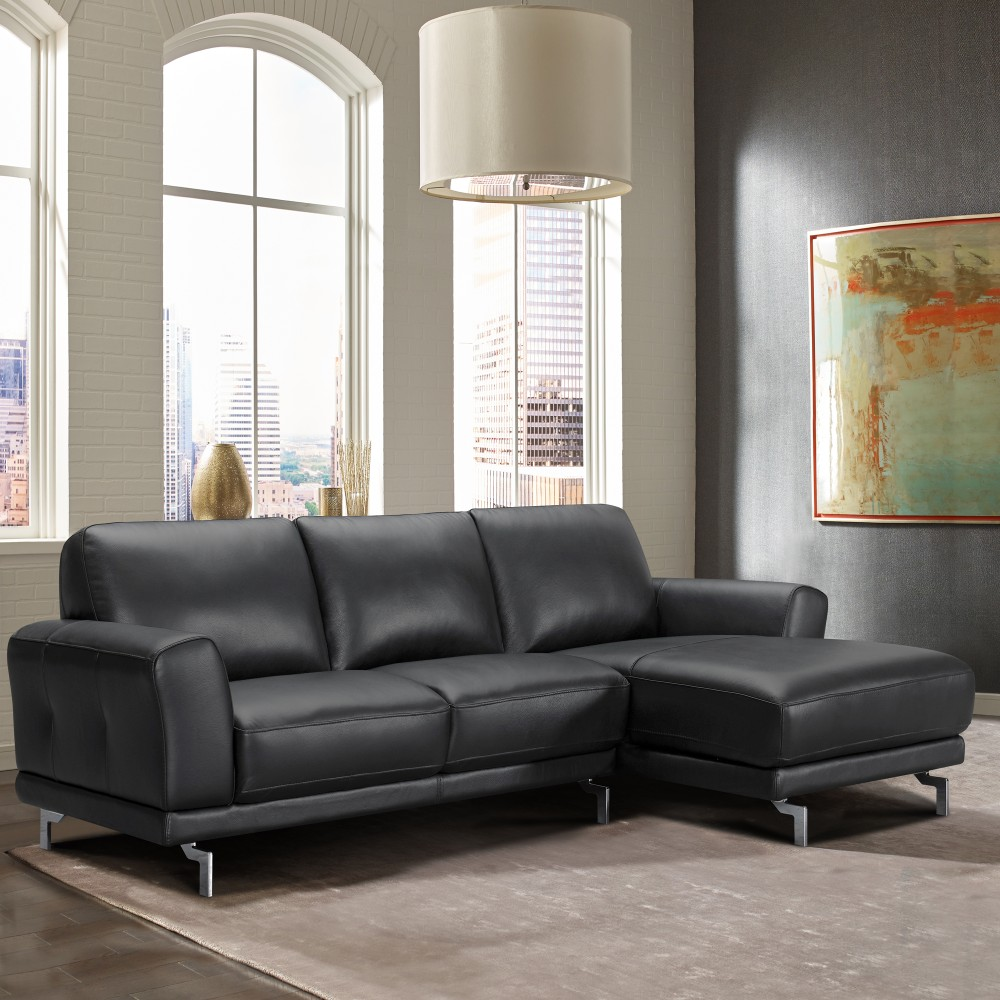 Armen Living Everly Contemporary Sectional Genuine Black Leather