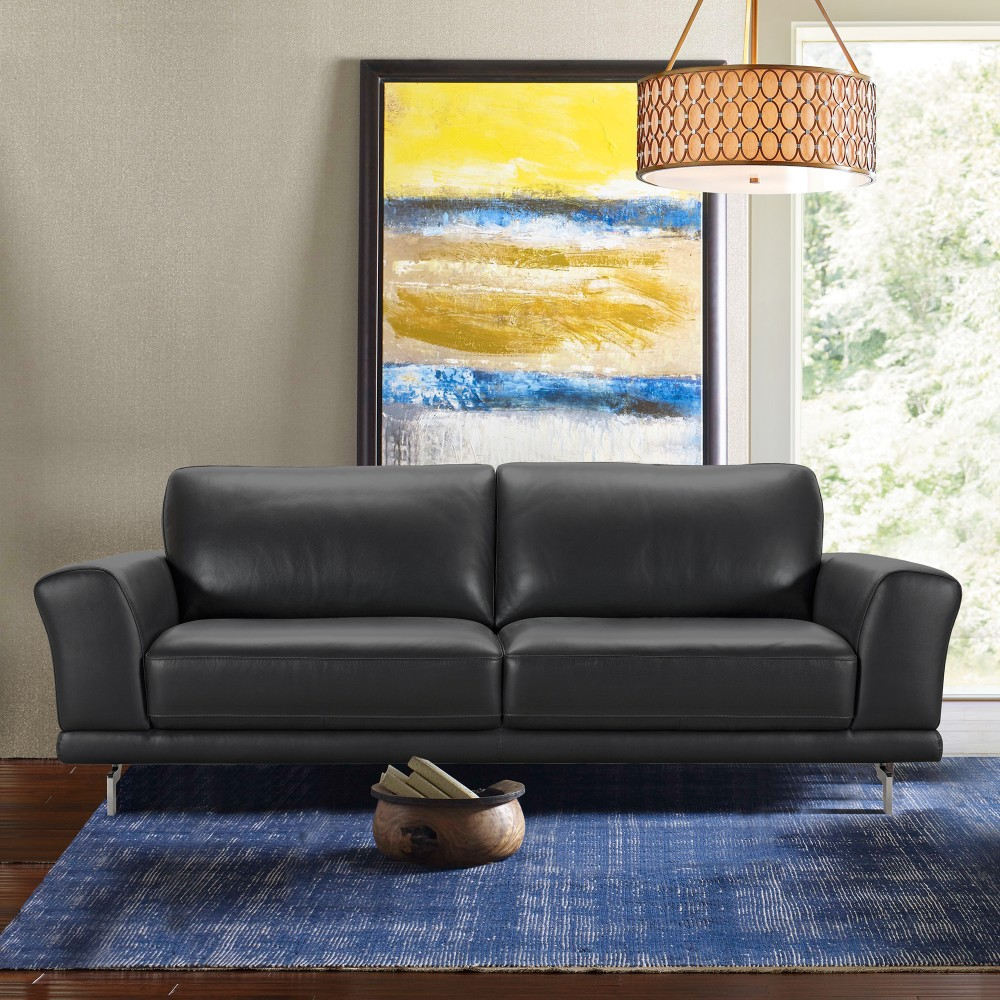 Armen Living Everly Contemporary Sofa Genuine Black Leather Brushed