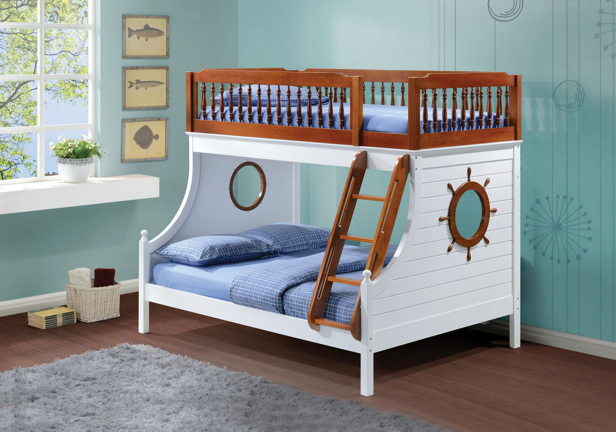 Acme Farah Twin Full Bunk Bed Oak White