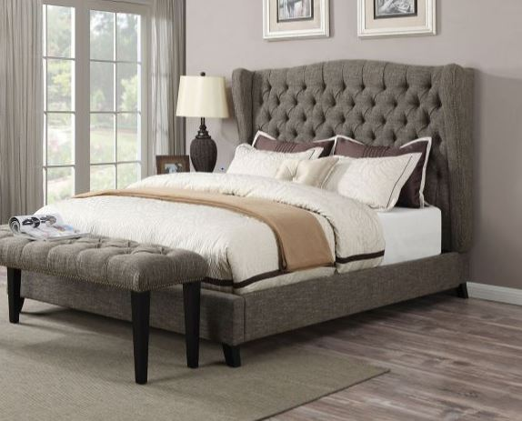 Acme Faye Eastern King Bed Tone Chocolate Linen