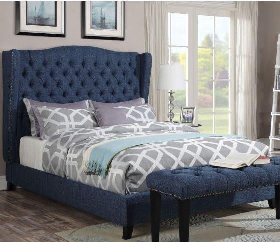 Acme Faye Eastern King Bed Blue Linen