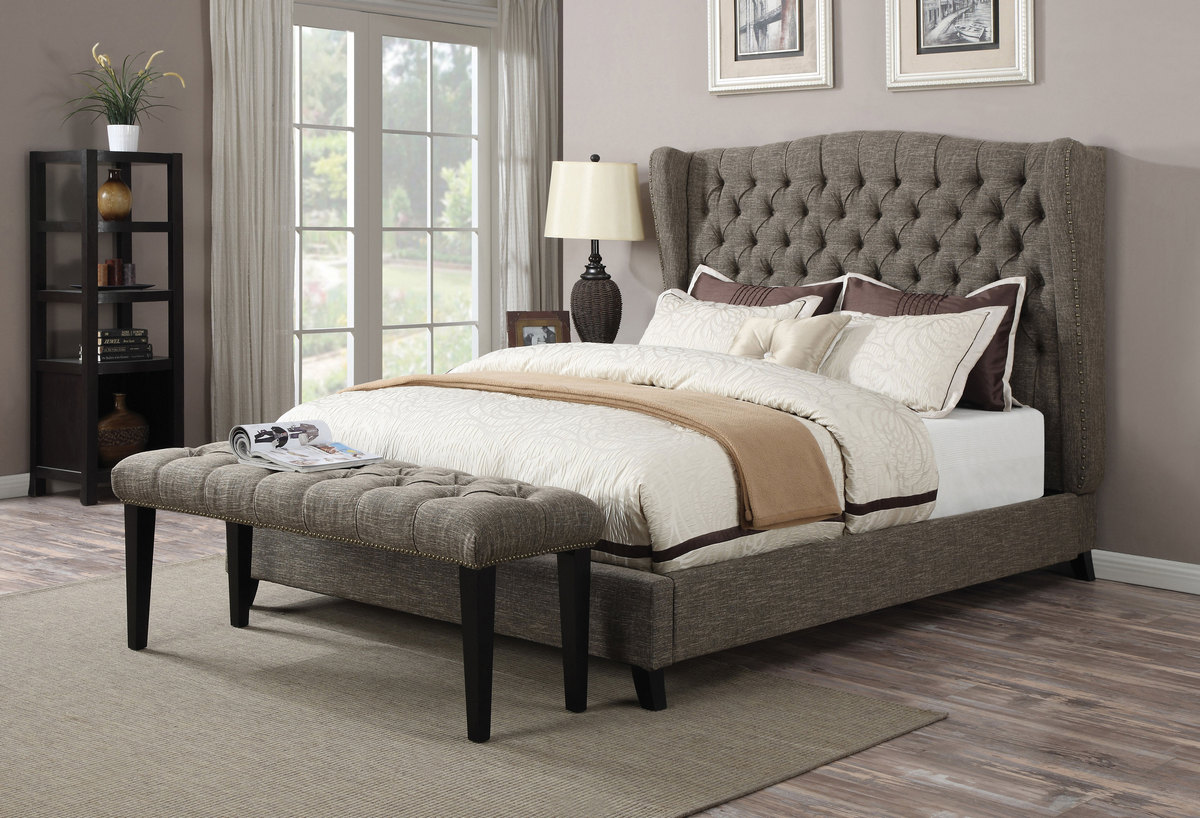 Acme Faye Queen Bed Tone Chocolate Linen