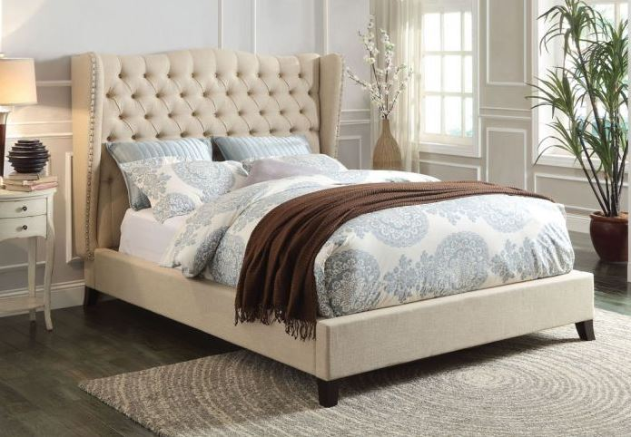 Acme Faye Queen Bed Beige Linen Espresso