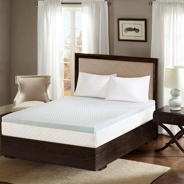 "Flexapedic by Sleep Philosophy 2"" Gel Memory Foam Twin Mattress Topper w/ Cooling Cover in White - Olliix BASI16-0469"
