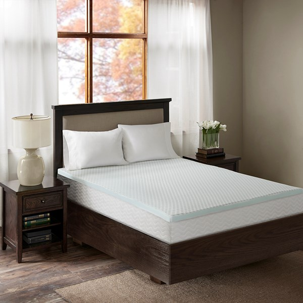 "Flexapedic by Sleep Philosophy 3"" Gel Memory Foam Full Mattress Topper w/ Cooling Cover in White - Olliix BASI16-0477"