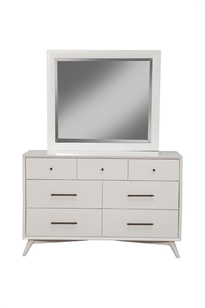 Alpine Mid Century Modern Drawer Dresser White Finish