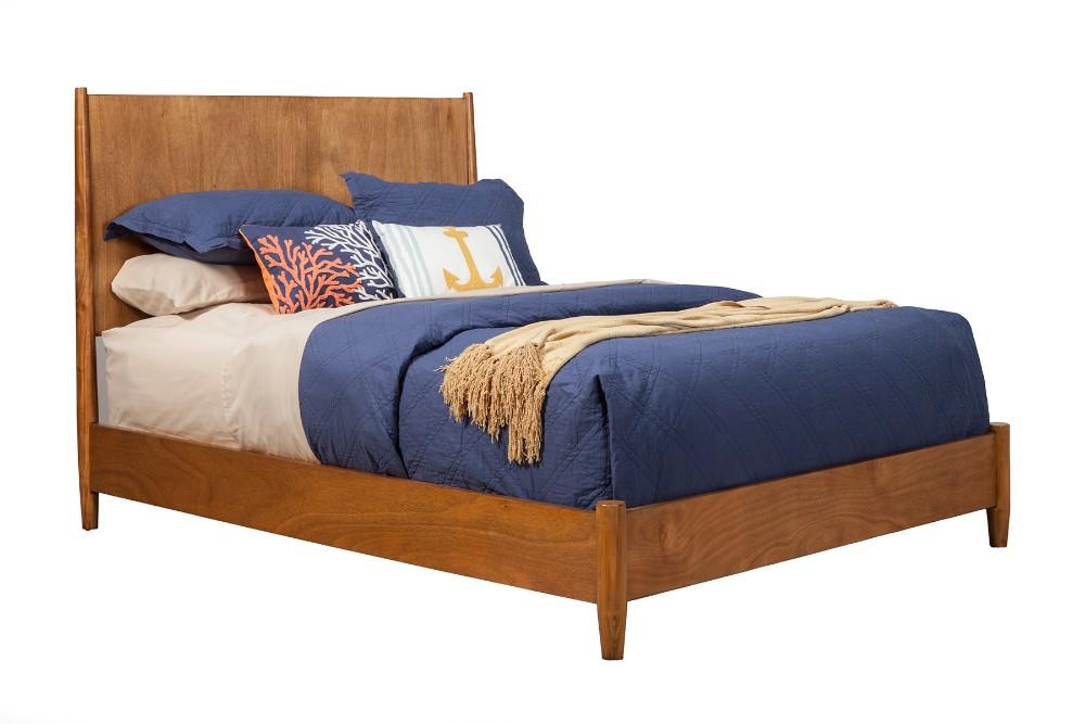 Alpine Mid Century Modern Queen Panel Bed Acorn Finish