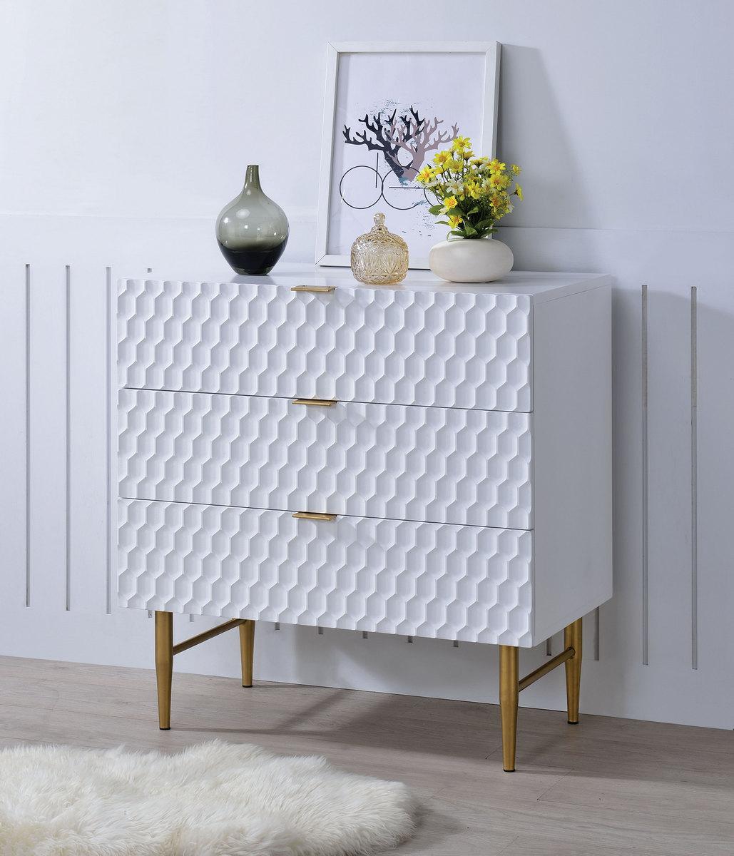 Acme Fredrick Dresser Drawers White Gold