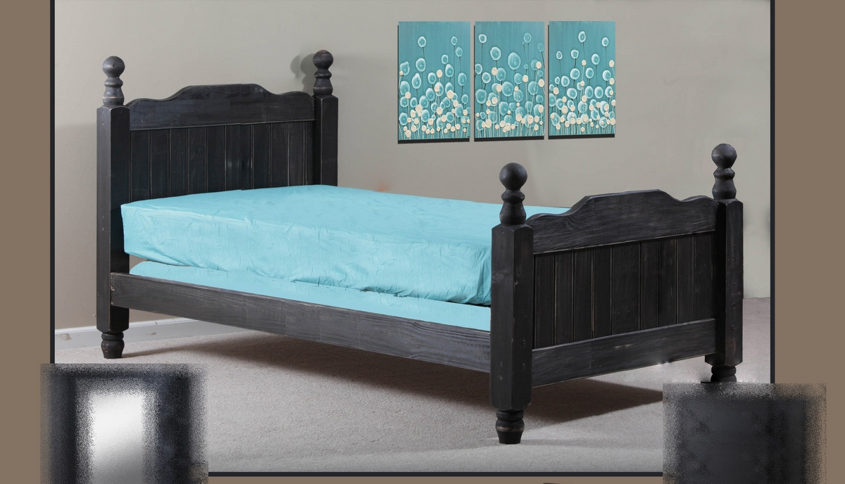 Chelsea Home Full Cannonball Panel Post Bed Black Distressed