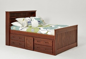 Chelsea Home Full Captains Bed Bookcase Under Bed Storage Chocolate
