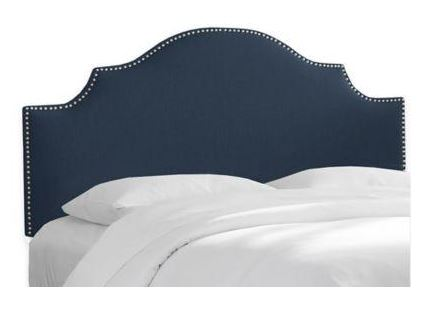 Skyline Full Nail Button Notched Bed Linen Navy