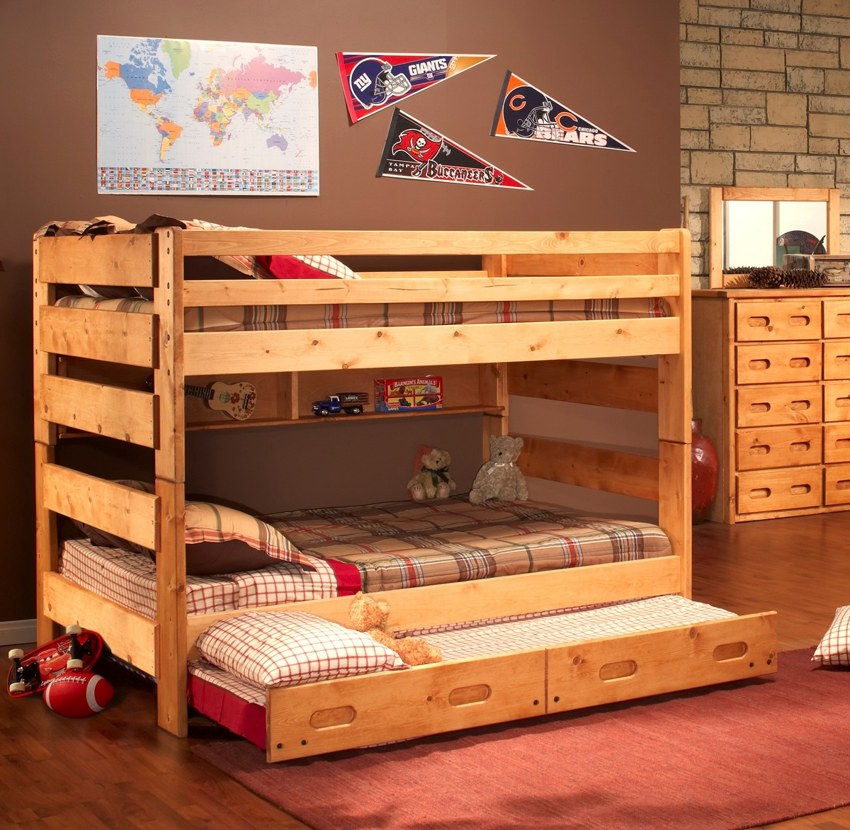 Chelsea Home Full Over Full Bunk Bed Trundle Unit Cinnamon
