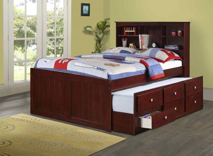 Donco Kids Bookcase Captains Trundle Bed