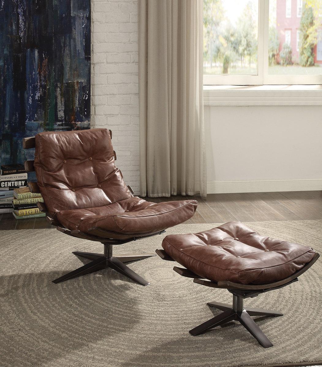 Acme Gandy Pk Chair Ottoman Retro Brown Grain Leather