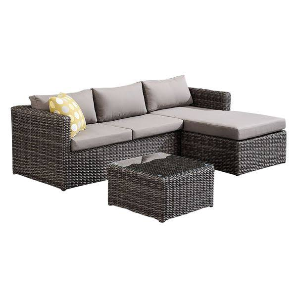 Armen Living Hagen Outdoor Rattan Sectional Chase Set Brown Cushions