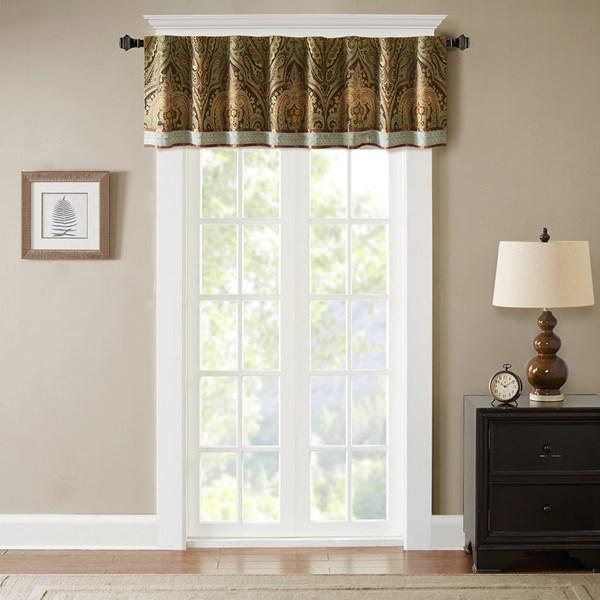 "Hampton Hill Canovia Springs 54x18"" Window Valance in Brown - Olliix FB41-1131"