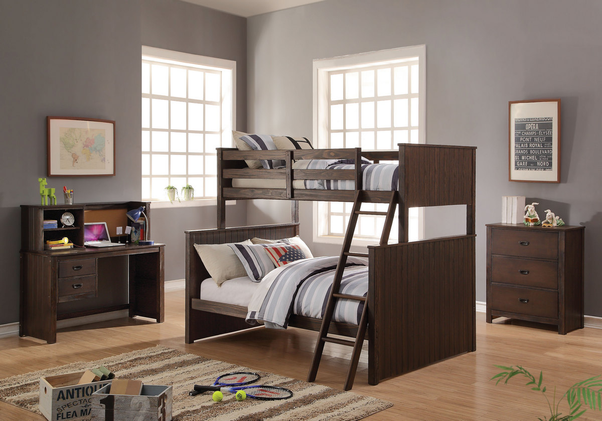 Acme Hector Twin Full Bunk Bed Antique Charcoal Brown