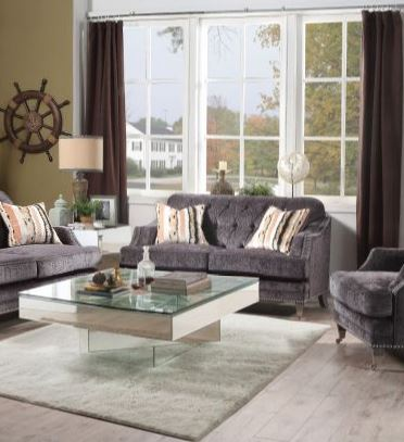 Acme Helenium Loveseat Pillows Gray Chenille