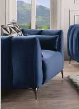 Acme Hellebore Chair Pillows Blue Velvet