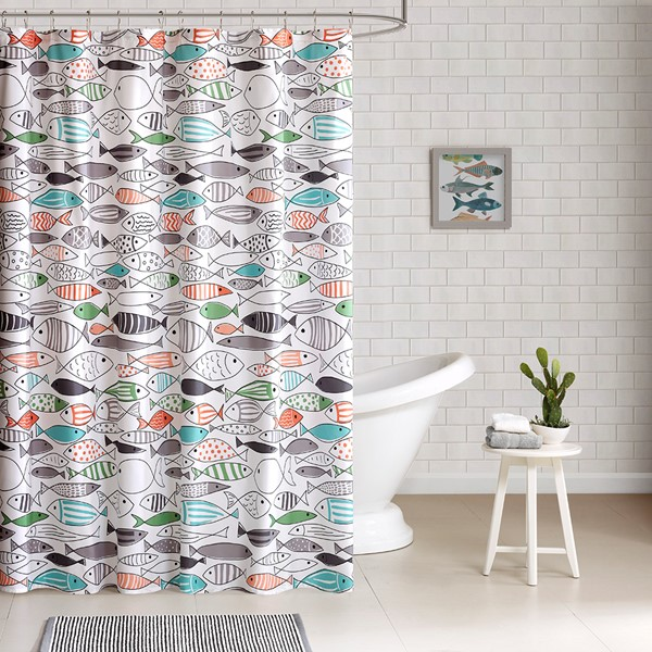 "HipStyle Sardinia 72x72"" Cotton Printed Shower Curtain in Multi - Olliix HPS70-0035"