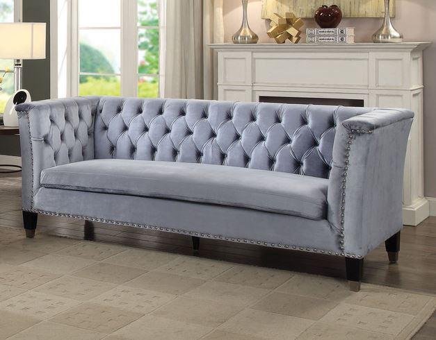 Acme Honor Sofa Blue Gray Velvet