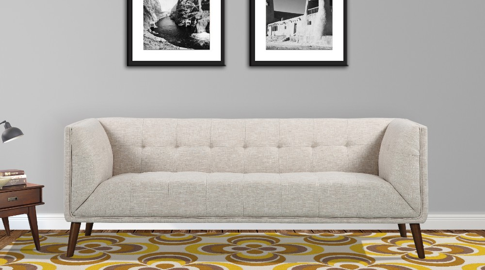 Armen Living Hudson Mid Century Button Tufted Sofa Beige Linen Walnut Legs