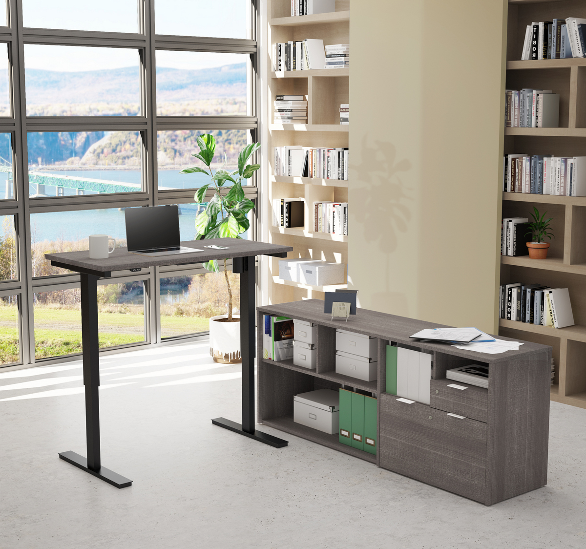 Bestar Height Adjustable Desk Bark Gray