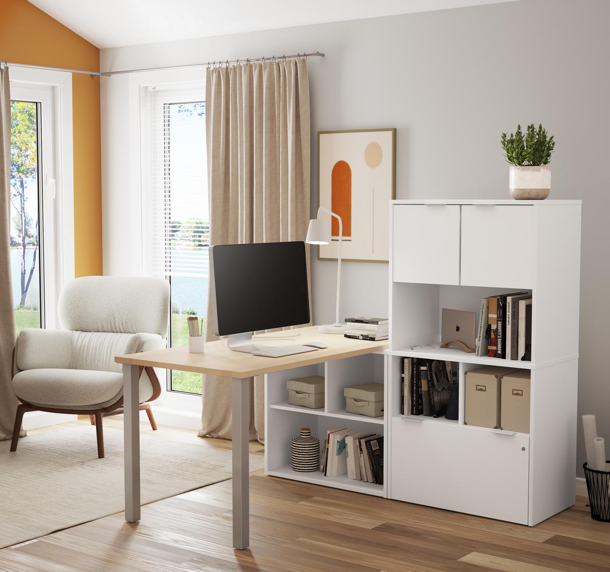 Bestar Desk Hutch Northern Maple White