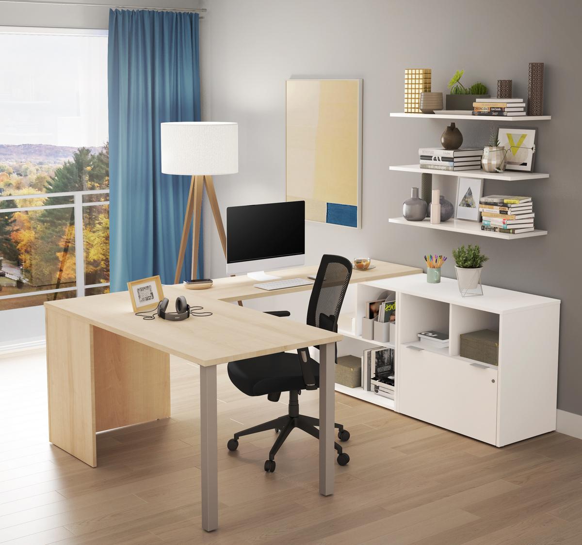 Bestar Desk One File Drawer Northern Maple White