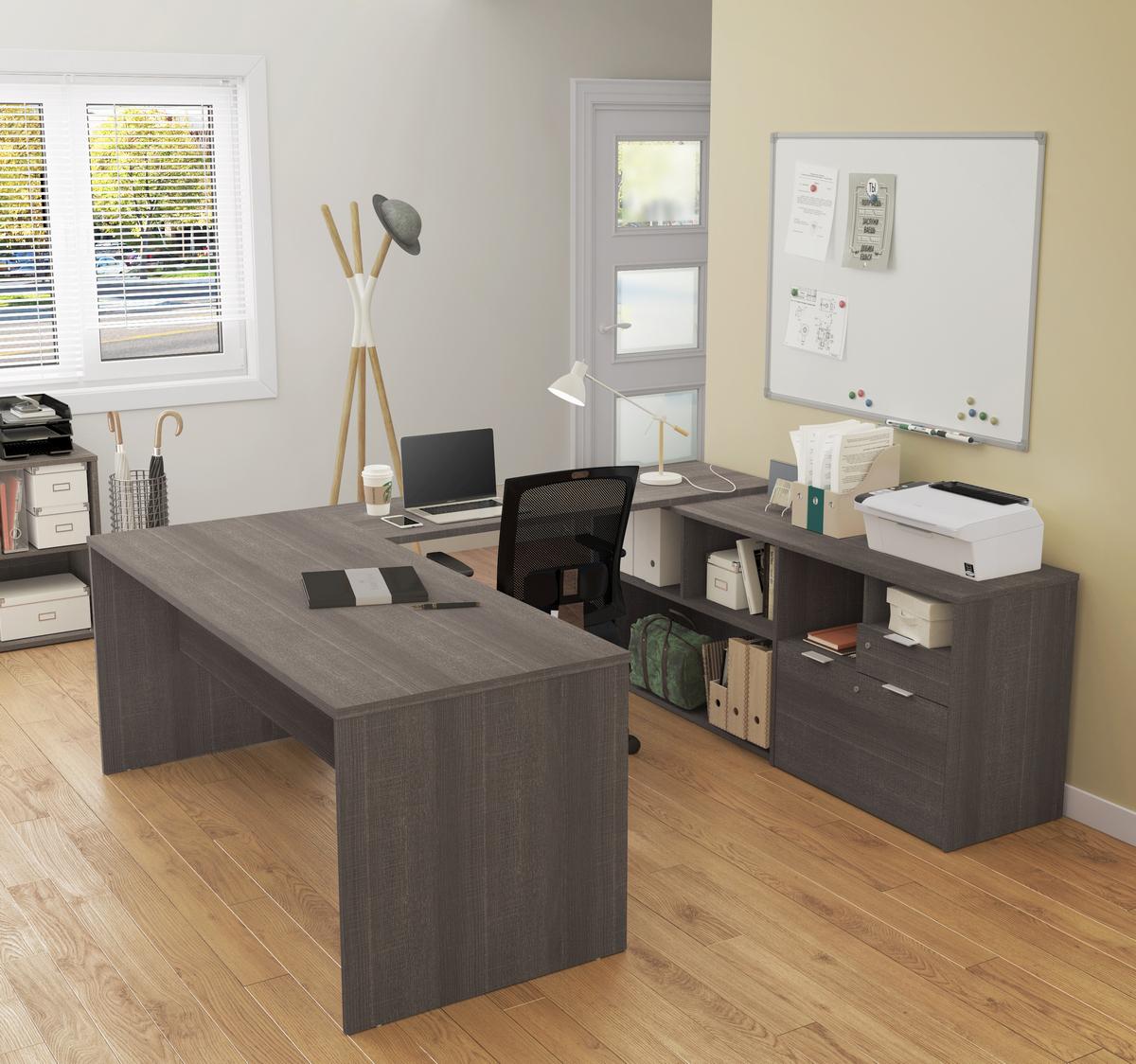Bestar Desk Two Drawers Bark Gray