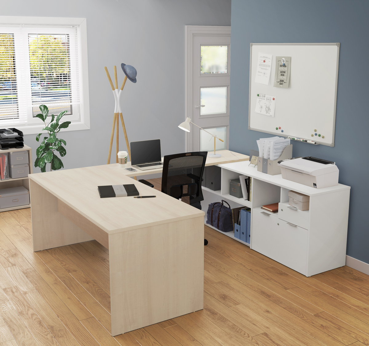 Bestar Desk Two Drawers Northern Maple White