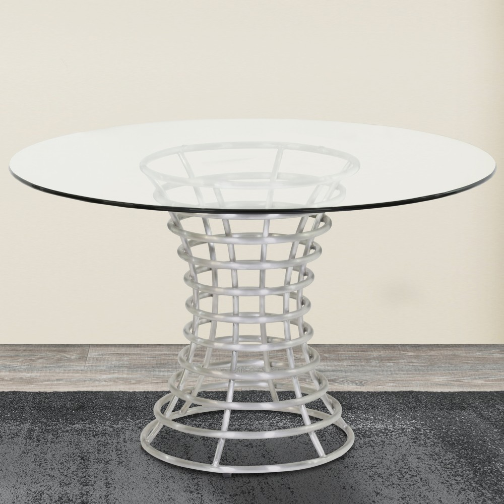 Armen Living Ibiza Brushed Stainless Steel Dining Table Clear Glass