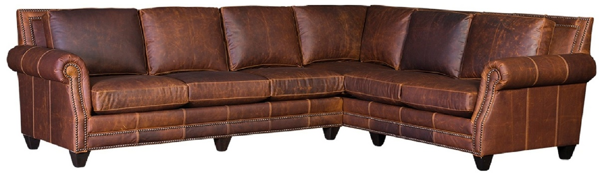 Chelsea Home Ike Sectional Antique Nails Walnut Finish Tenby Coppertone