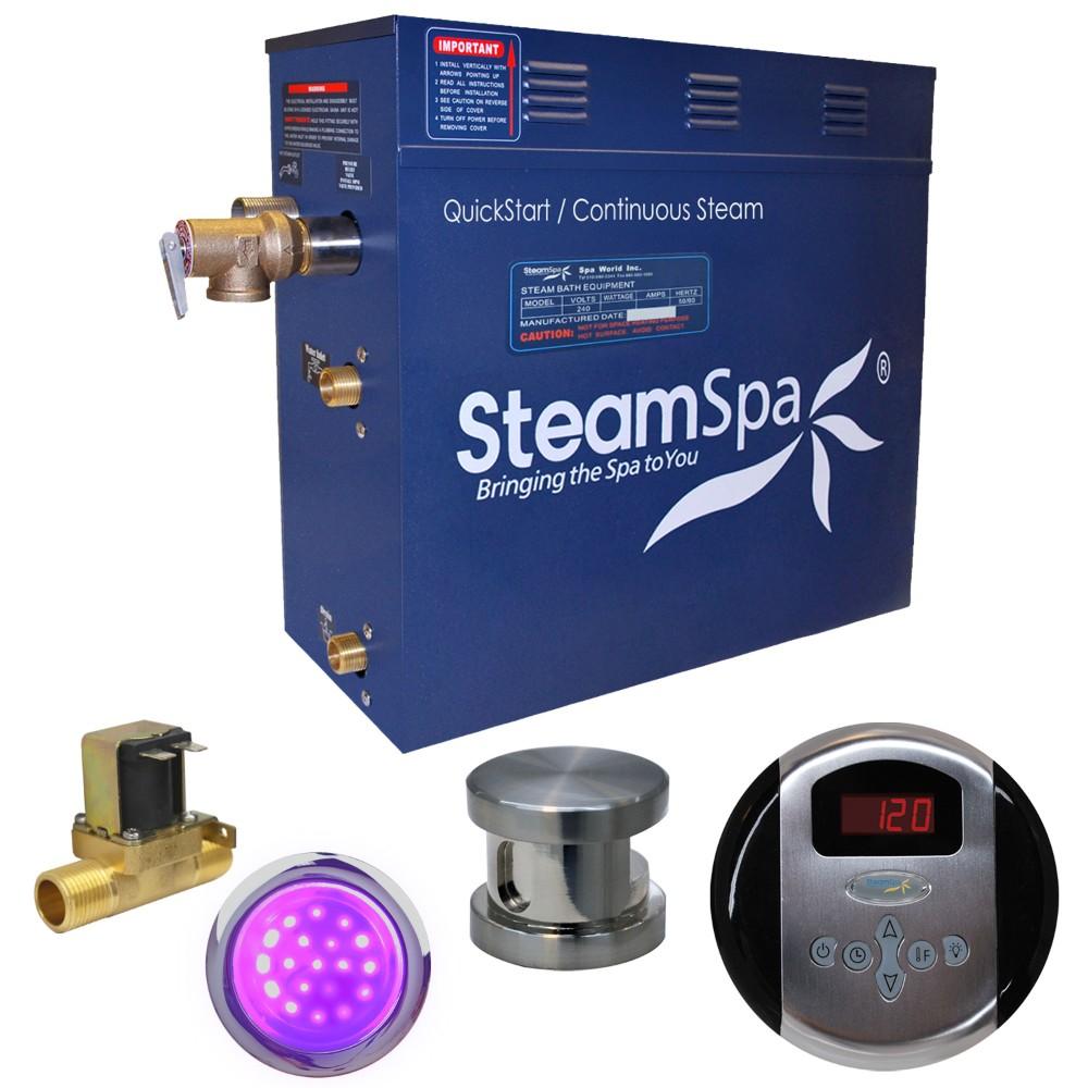 Steamspa Steam Bath Generator Package Built Auto Drain Brushed Nickel