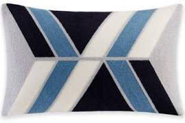 """INK+IVY Aero 12x20"""" Embroidered Abstract Oblong Pillow in Blue - Olliix II30-758"""