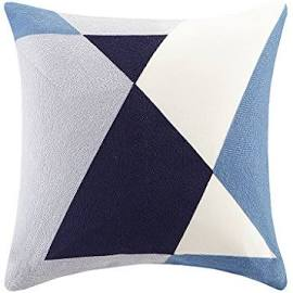 """INK+IVY Aero 20x20"""" Embroidered Abstract Square Pillow in Blue - Olliix II30-792"""
