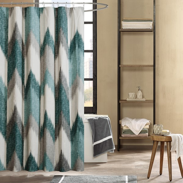 "INK+IVY Alpine 72x72"" Cotton Printed Shower Curtain in Aqua - Olliix II70-779"