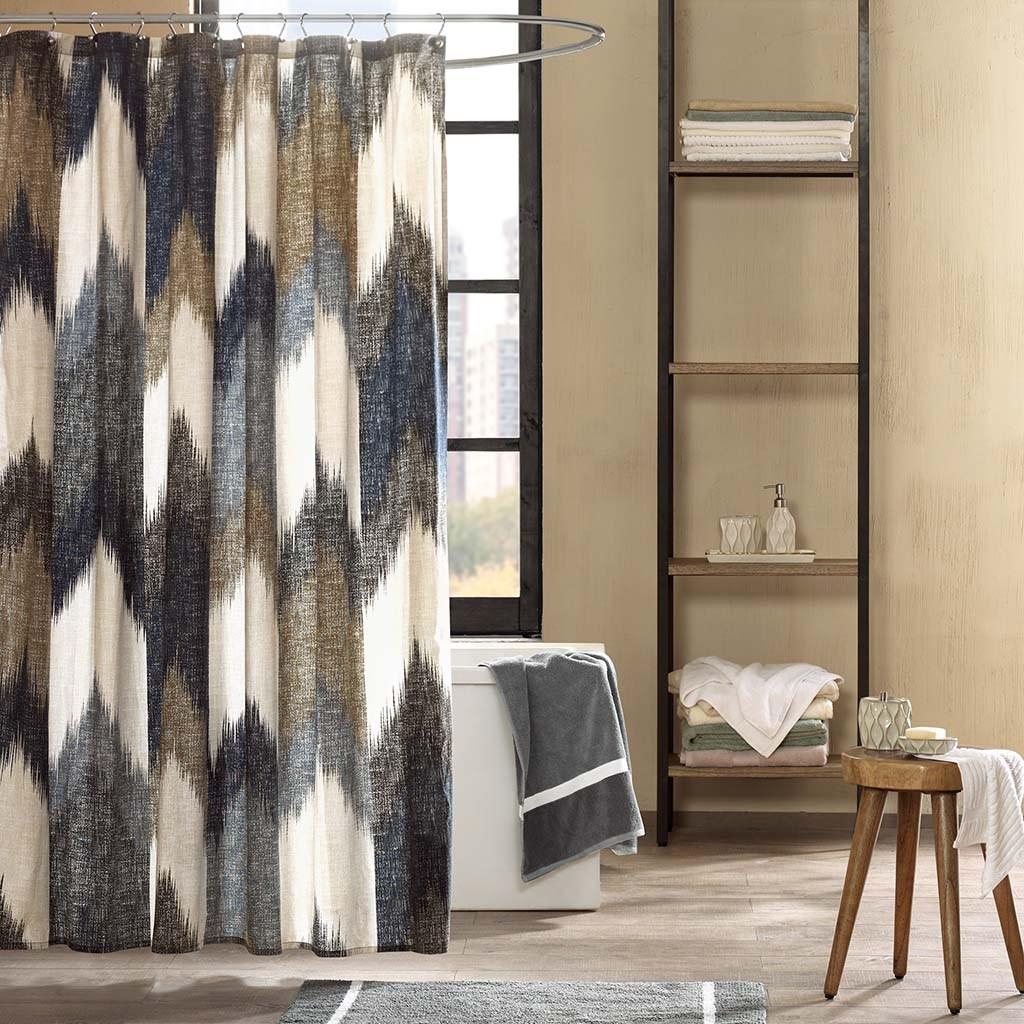 """INK+IVY Alpine 72x72"""" Cotton Printed Shower Curtain in Navy - Olliix II70-541"""