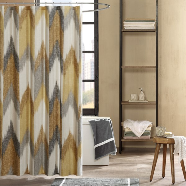 "INK+IVY Alpine 72x72"" Cotton Printed Shower Curtain in Yellow - Olliix II70-780"