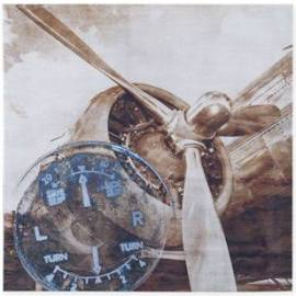 INK+IVY History Of Aviation II Printed Silver Mettallic Canvas in Silver - Olliix II95C-0005
