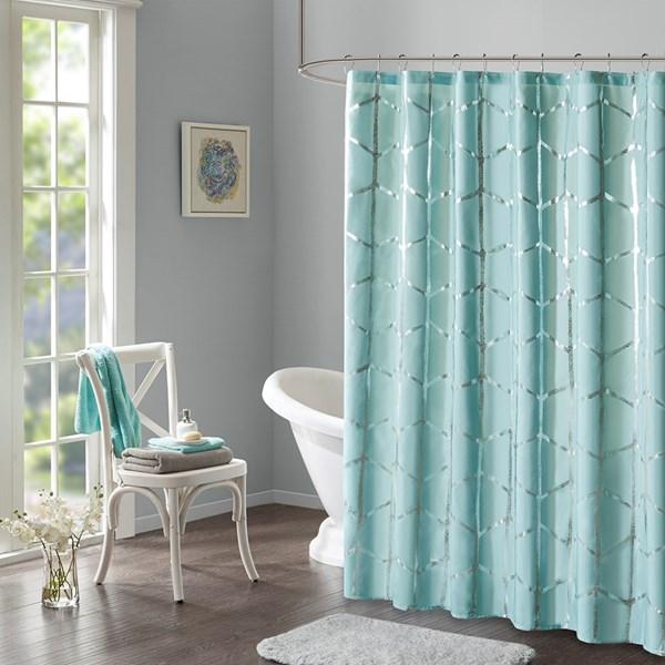 Metallic | Curtain | Shower | Design | Print | Aqua