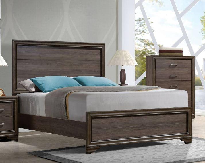 Acme Parker Eastern King Bed Beige Linen Reclaimed Oak
