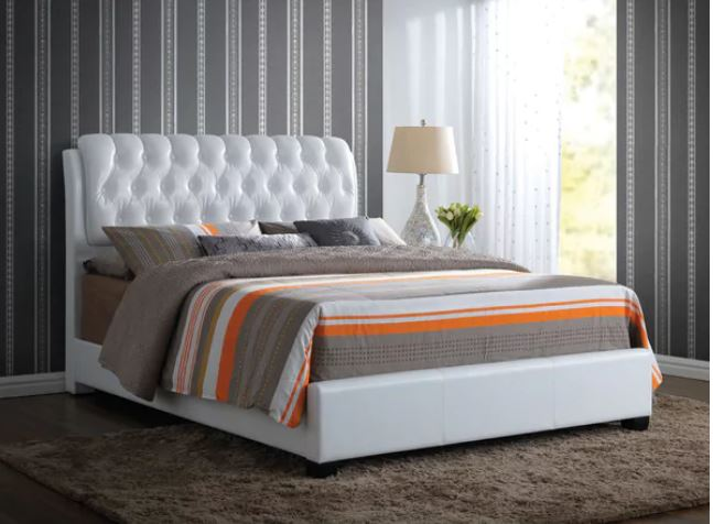 Acme Eastern King Bed Button Tufted White Pu