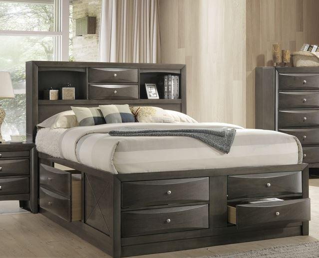 Acme Queen Bed Storage Gray Oak